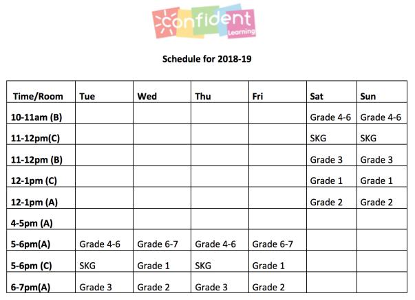 18-19 schedule